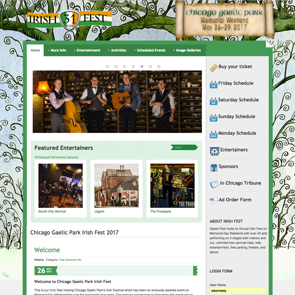 Events management website for Chicago Gaelic Park's Annual Irish Fest - Four days over Memorial Day Weekend featuring schedules and biographical data for bands, musicians and dance companies.