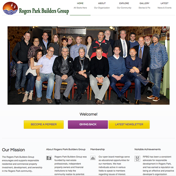 Web portal featuring events management, member communication and community involvement for Rogers Park Builders Group, a community civic organization in Chicago's Rogers Park neighborhood.